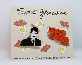 "Parks And Recreation Shrink Plastic Brooches Set ""RON SWANSON+BACON"""