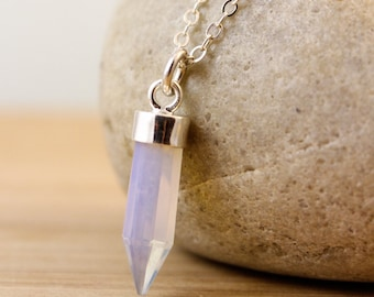 White Opalite Point Necklace - Point Jewelry - October Birthstone