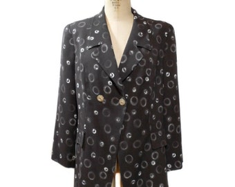 vintage 1980s FENDI 365 jacket / brown white / novelty print smoke signals rings / oversize jacket / women's vintage jacket / size large