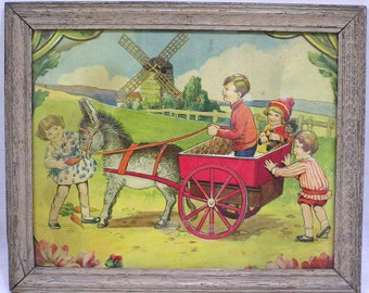 Vintage Wood Framed Embossed Print Dutch Children Donkey Cart Windmill