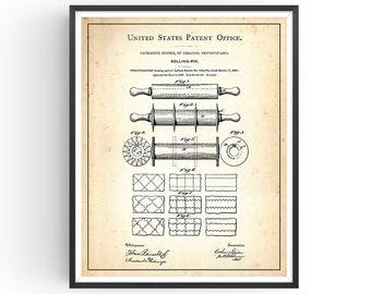ROLLING PIN - 1891 - Patent Print - Kitchen Art - Kitchen Decor - Baking Art - Baking Patent - Chef Gift - Rolling Pin Print - Unframed