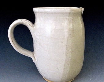 Stoneware Medium Pitcher or Creamer. Creamy White-on-White.  Neutral. 18oz.