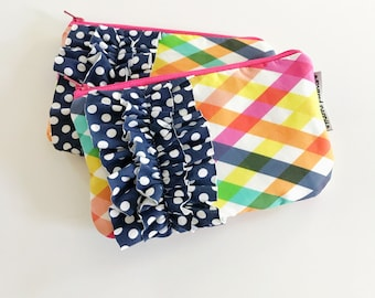 mini ruffle clutch --  checkered summer
