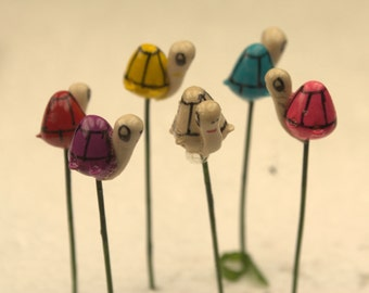 5 miniature (1.2cm / 0.5in )  Assorted colors Garden Snails on wire for dollhouse / terrarium garden ornaments