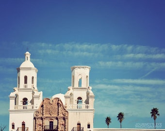 Tucson Arizona photography, San Xavier Mission, desert photograph, Catholic, Southwest decor, Southwestern art - White Dove of the Desert