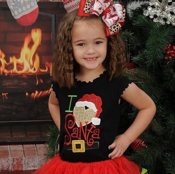 I Love Santa Embroidered Shirt - Christmas Shirt - Girls Christmas Shirt - Boys Christmas Shirt - Kids Christmas Shirt - Santa Shirt