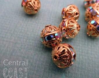 8mm Czech Glass Crystal AB Rhinestone Rondelle Filigree Beads - 2 pcs - Vintage Style Gold Setting - Central Coast Charms Aurora Borealis