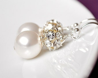 Rhinestone Bridal Earrings, Pearl Bridal Earrings, Art Deco Bridal Earrings, Bridal Jewelry