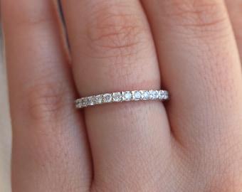 3 MM 1.00 Carat Round Diamond Pave Set Full Eternity Ring in 18k White Gold JsmWdv