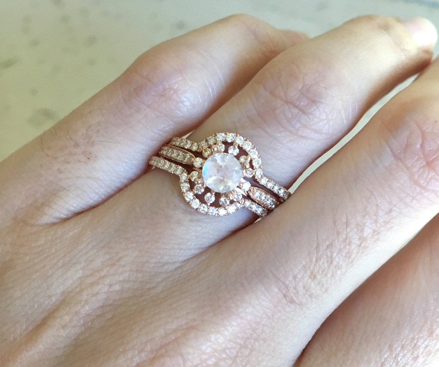 Rose Gold Moonstone Engagement Ring Set Moonstone 3 Piece Bridal