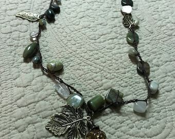 Crocheted Semi-precious Stone Necklace