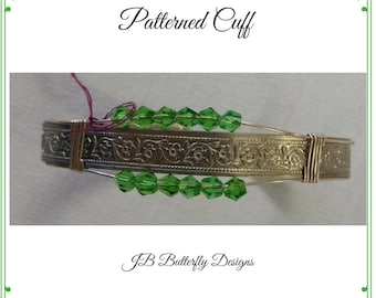Sterling Silver Wire Wrapped Cuff Bracelet with Light Green Swarovski  Bicones