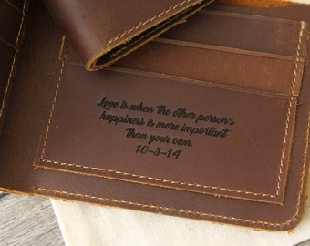 Personalized Leather Wallet - Custom 3rd Leather Anniversary Gift - Gift For Him - Engraved Monogram or Name on Wallet