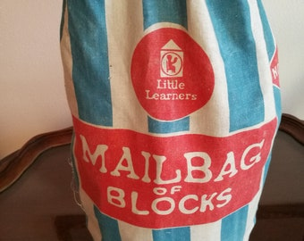 Little Learners Mailbag of Blocks Vintage Set 110 Blocks by Sears Roebuck and Company, Chicago