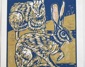 Wild Hares #8/8: hand pulled 2-color reductive linoleum block print, Hares