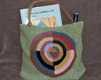 """Hand hooked tote bag, """"Le Premier Disque"""""""