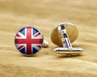 cufflinks, union flag cufflinks, custom national flag cufflinks, union jack cufflinks, flag of UK, round square cufflinks, tie clip or set