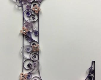 Paper quilling: Quilled Monogram Letter 8x10, initial