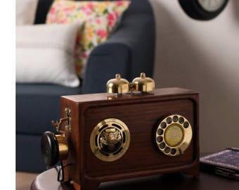 Brown Wooden Fully working Replica Antique Radio Telephone