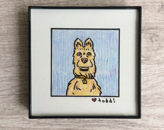 """Isle of Dogs - Rex, Original Drawing, 4"""" x 4"""", TV, Wes Anderson, Movies, Pop Culture, ink and crayon"""