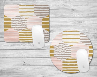 Gold and Pink Mousepad | Gold Pink and Gray | Mouse Pad | Geometric Pattern Mousepad | Girly Mousepad | Gifts for Her | Desk Accessories