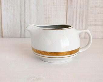 Vintage Creamer, White Ironstone Creamer with Golden Trim, Porcelain Creamer, Coffe Creamer Pitcher, Ironstone Creamer, Coffee Lover Gift
