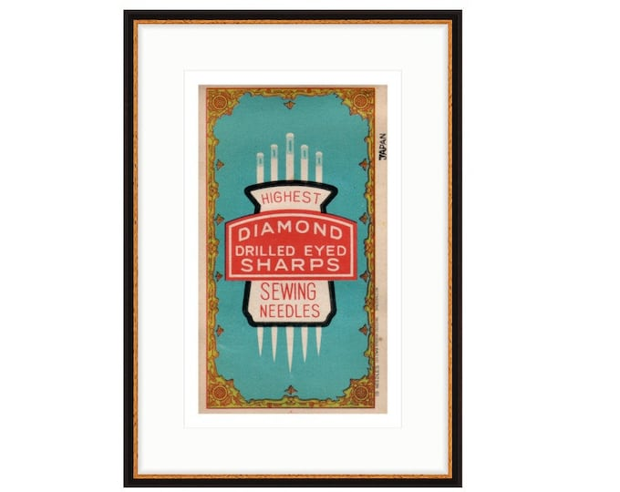 Framed print of Diamond Drill Eyed Sharps. Mid 20th Century needle packet. Free Shipping in US.