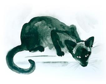 Siamese nosy cat Digital Download Art printable, dark emerald sepia animal art, watercolor painting for cat lovers, art craft supplies