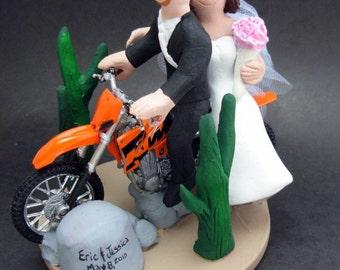 KTM Wedding Cake Topper, Dirt Bike Motorcycle Wedding Cake Topper, Off Road Motorcycle Wedding Cake Topper, Motorcycle Wedding Cake Topper