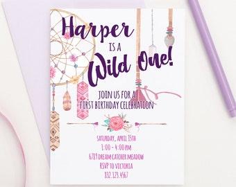 Bohemian Birthday Invitation, Bohemian Party Invitation, Wild One Party Invite, Wild One Birthday Invitation, Boho Birthday Invitation,BI002
