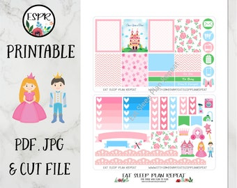 Printable for Erin Condren -  Fairy Tale Princess Theme Weekly Planner Stickers for EC Life Planner Vertical, Spring, Summer, Cut File, Pink