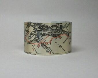 Plymouth to Rochester New Hampshire Lake Winnipesaukee Winnepesaukee Road Map Cuff Bracelet Gift for Men or Women