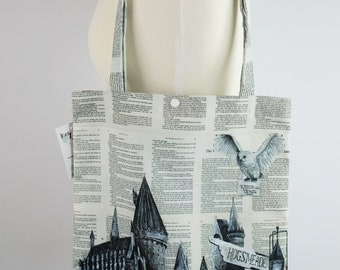 Witchcraft and Wizardry Canvas Tote Bag of a Snowy Owl and Castle
