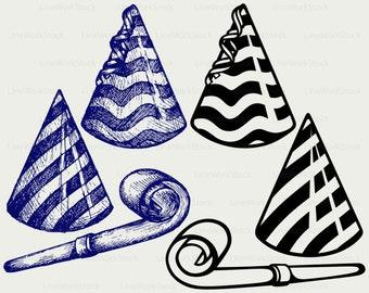 Party hat svg/clipart/noisemaker svg/party hat silhouette/party hat cricut cut files/party hat clip art/digital download/designs/svg