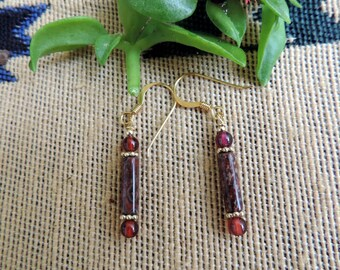 Leopard Jasper, Garnets Gold Plated  Earrings