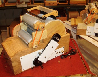 S C P Jumbo Triple Drum Carder Electric with Brush, 90/'90/120 tpi