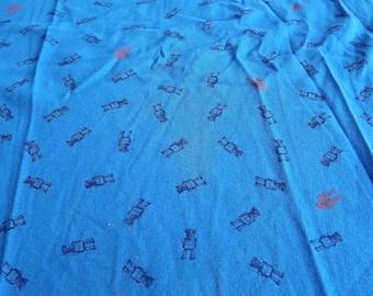 JERSEY cotton fabric blue patterns robots