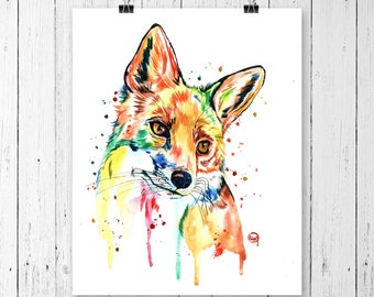 FOX 3 PRINT, Fox art, fox watercolour, fox painting, woodland animal, forest animal, fox watercolor, nursery art, colourful animal print