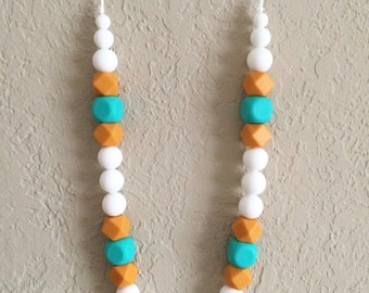 Silicone Teething Necklace, Nursing Necklace, Chew Beads, white mango turquoise