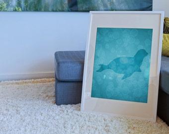 Seal Art, Seal Print 8 X 10, Nautical Nursery Decor, Sea Life Art Print, Sea Life Nursery, Sea Lion Art, Beach House Wall Art Decor