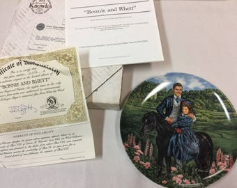1985 Gone with the Wind Bonnie & Rhett Plate 8th Issue LE w Box COA