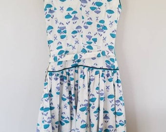 1950s Unique Umbrella Vintage Day Dress