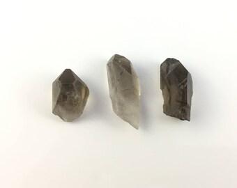 Smoky Quartz Crystals   Lot of 3 Natural Raw Rough Crystal   Healing Stones