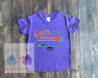 Happy Camper embroidered tshirt, camping shirt, rv shirt, camper shirt