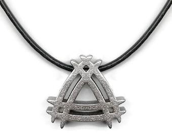 Mens Triangle Necklace, Steel Pendant, Futuristic Jewelry, Gift for Boyfriend, 3D Printed Pendant, Masculine Pendant Necklace