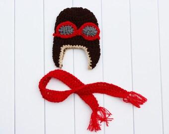 Newborn Aviator Hat, Baby Aviator Hat, Crochet Aviator Hat, Crochet Baby Hat, Baby Pilot Hat, Boy Aviator Hat, Aviator Beanie