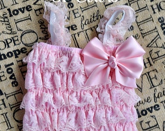Pink Romper, Cake Smash Outfit Girl, 1st Birthday Outfit Girl, Romper, Toddler Rompers, Lace Romper, Baby Girl 1st Birthday Outfit, Romper