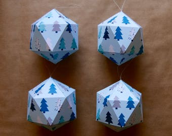 4 Christmas paper ornaments - Blue trees pattern