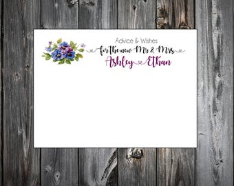 100 Pansies Flowers Advice and Wishes.  Wedding Favors