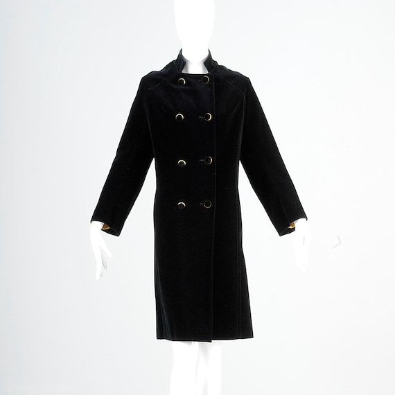 Coat Vintage A Double Black Trim 1960s 60s Breasted Lining Mod Military Line Coat Gold Velvet Medium Outerwear C7aqtw7